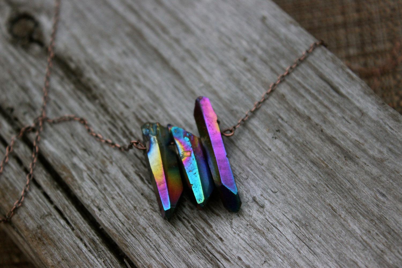 Rainbow aura quartz crystals necklace bronze chain