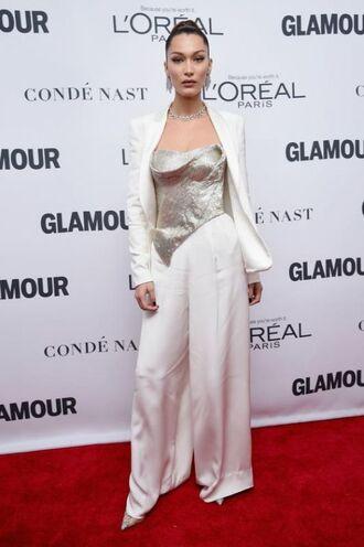 shoes bustier silver bella hadid model white pants blazer