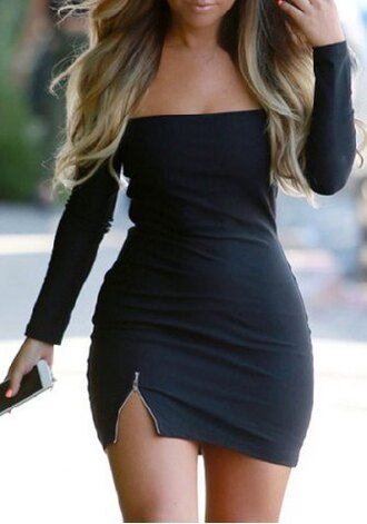dress fashion style trendy long sleeves sexy off-the-shoulder solid color zipper long sleeve dress for women sexy bodycon dress hot sensual party dress black