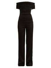jumpsuit,off the shoulder,black