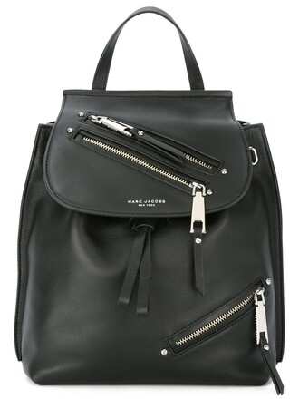 zip backpack leather black bag