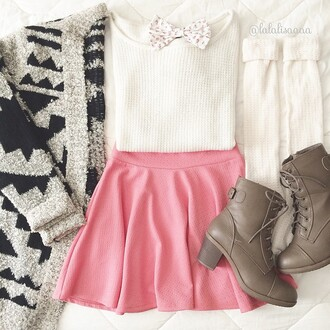 skirt pink skater skirt cute girly charlotte russe sweater shoes