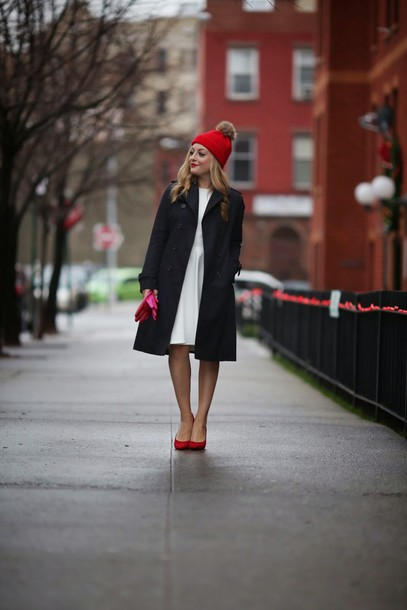 rach martino blogger red heels pom pom beanie black coat
