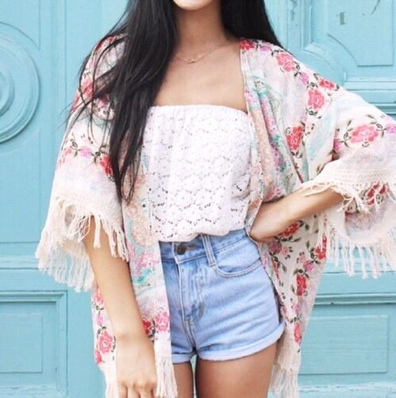 top cardigan floral