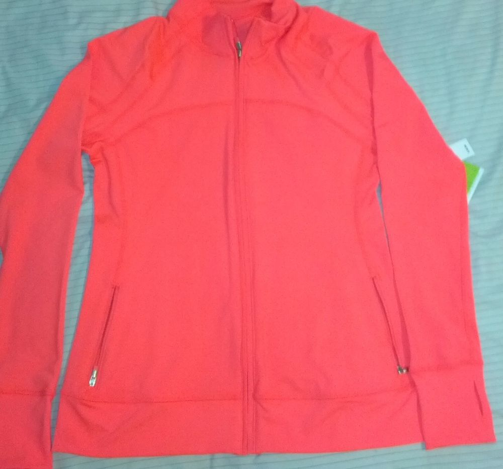 Nwt womens gap body neon coral workout yoga fitness running jacket m, l, xl