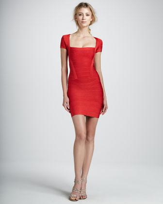 Herve Leger Square-Neck Cap-Sleeve Bandage Dress - Neiman Marcus