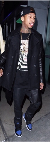 coat,jacket,black,cotton,leather sleeves,menswear,tyga,black coat,whool