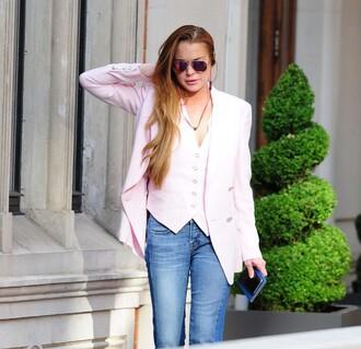 top blazer lindsay lohan jeans vest