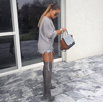 shoes grey girly hoodie blonde hair pink over the knee boots streetwear