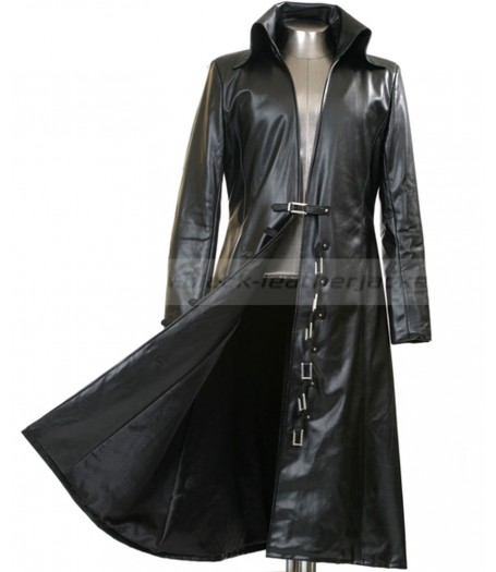 Long Black Trench Coat | Black Leather Jacket for Men