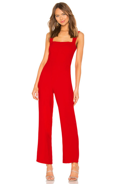 About Us Karolyn Square Neck Jumpsuit in red