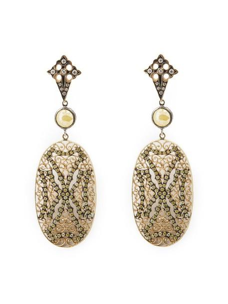 Loree Rodkin cross women earrings lace gold yellow grey metallic jewels