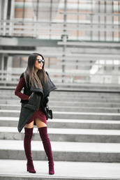 wendy's lookbook,blogger,winter outfits,winter swag,thigh high boots,velvet shoes,burgundy,burgundy shoes,vest,black vest,burgundy dress,christmas dress,velvet over the knee boots