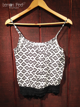 tank top geometric lace black and white buttons on front