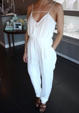 pants white jumpsuit white white pants jumpsuit jump suit shirt v neck dress one piece feminine classy formal top cute girly jumper style hot gorgeous clothes sleeveless romper