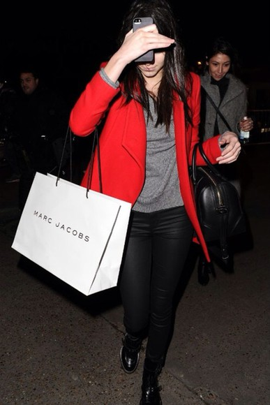 jacket red jacket pants red shirt cute high heels kendall jenner