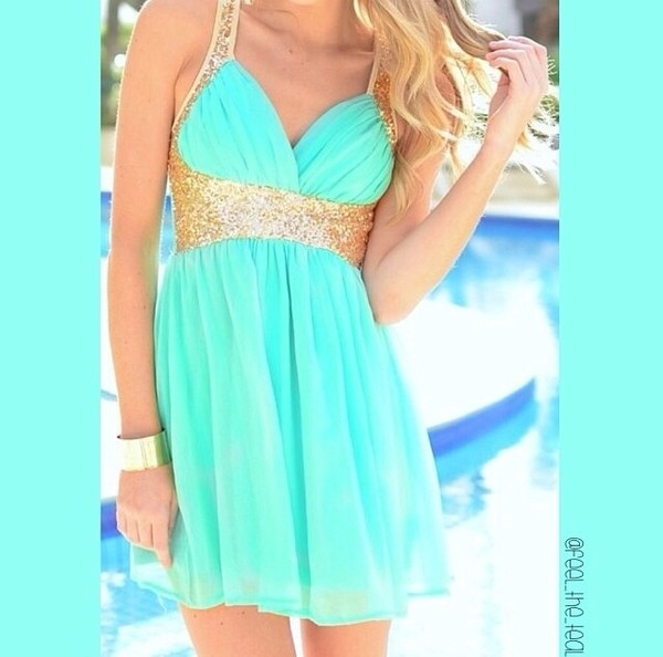 dress teal dress gold sequins jewels