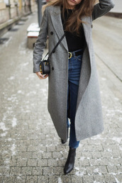 coat,tumblr,grey,grey coat,long coat,denim,jeans,blue jeans,top,black top,bag,black bag,crossbody bag,boots,ankle boots,black boots,grey long coat,heel boots,gold buckle belt,blogger