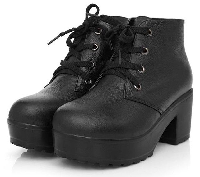 Womens Punk Real Leather Lace Up Block Chunky Heel Platform Ankle Boots Shoes #2