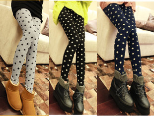 Autumn/Winter fleeced star patterned women's ladies' leggings tights Print Leggings Lady  Skinny Tights Cropped Jeans-inSocks & Hosiery from Apparel & Accessories on Aliexpress.com