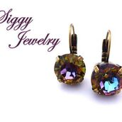 jewels,siggy jewelry,swarovski,earrings,crystal volcano,sparkle,bling,purple,accessories,rainbow,glamour,fashion,etsy,gift ideas,unique gifts for women