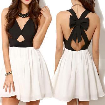 Black & white back bow dress