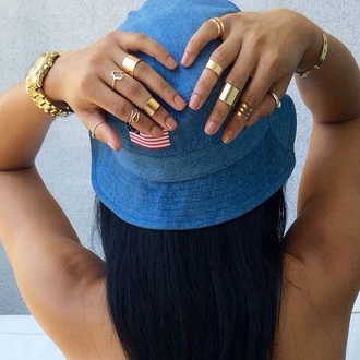 hat jewels fashion style ripped jeans rings and tings