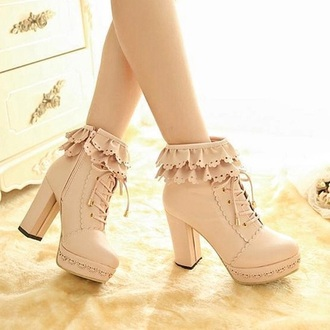 shoes lovely kisses tan cream kawaii kawaii accessory kawaii shoes lolita cute lace heels high heels valentines day gift idea valentine's day