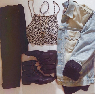 ankle boots denim jacket black jeans fashion inspo grunge grunge wishlist styled choker necklace outfit