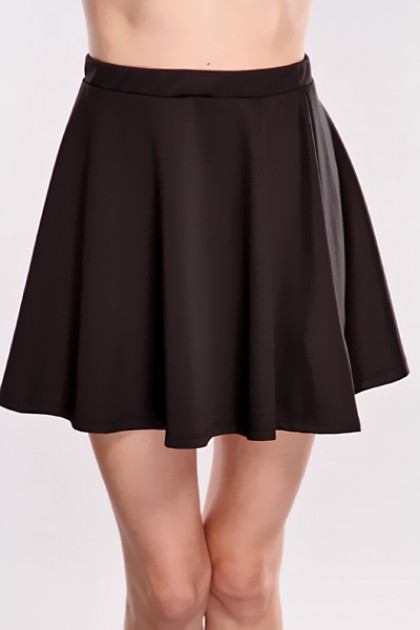 High Waisted Skater Skirt Black - Redskirtz