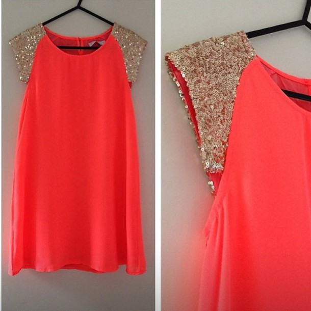 Dress: coral, neon, sequins, cap sleeves, gold, gold sequins, bag ...
