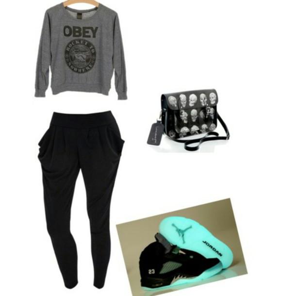shoes jordans glow in the dark obey sweater joggers skull purse pants