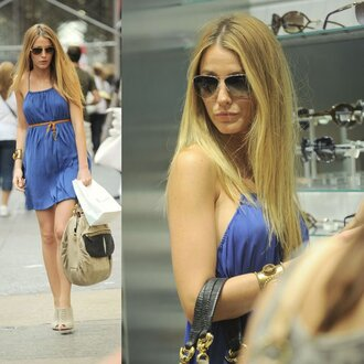 mini gossip girl serena blake lively blue dress dress