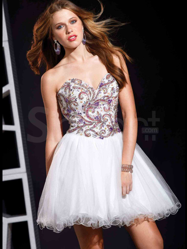 dress awsome beaded gown white prom