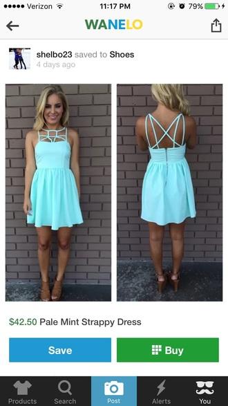 dress pale mint strappy dress