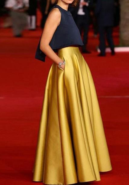 skirt gold pleated skirt