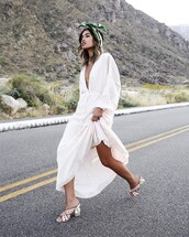 dress,tumblr,white shoes,maxi dress,white long dress,long dress,mules,shoes,long sleeves,long sleeve dress,v neck,v neck dress,plunge v neck,headband,spring outfits,spring dress