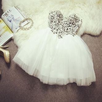 dress sparkle cut prom short dress white diamonds