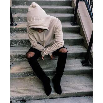 sweater maniere de voir hoody hooded top beige embossed