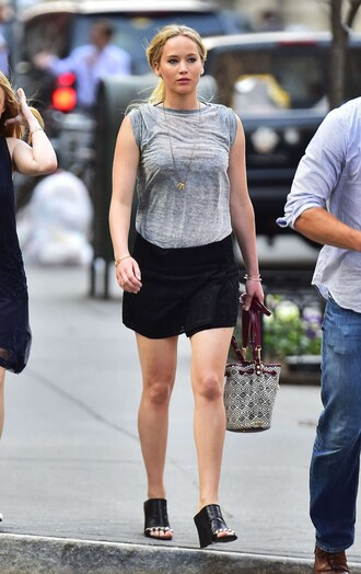skirt top jennifer lawrence sandals mules shoes