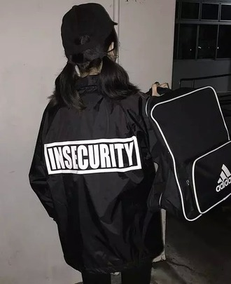 jacket black insecurity white letters white lettering white print black jacket black coat grunge jacket stylish jacket cute jacket