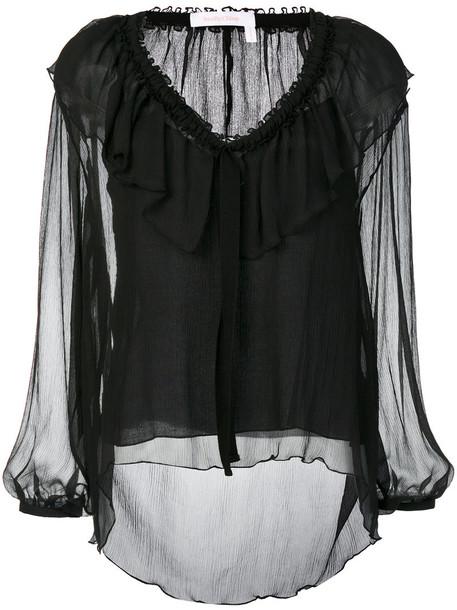 See by Chloe blouse women cotton black silk top