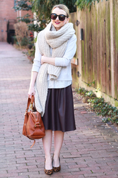 poor little it girl,blogger,midi skirt,leather skirt,knitted scarf,ballet flats,leather bag,sweater,scarf,skirt,shoes,jewels
