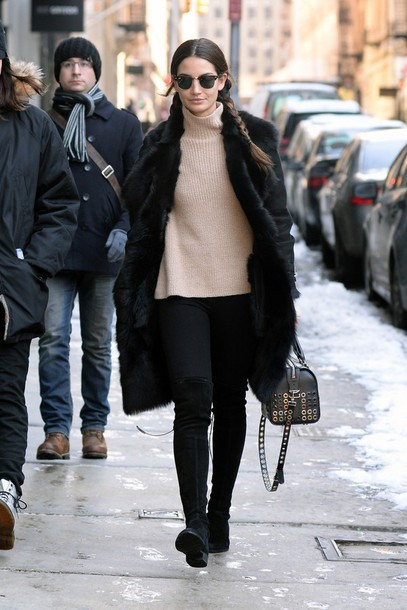 shoes boots knee high boots over the knee boots lily aldridge sweater jeans
