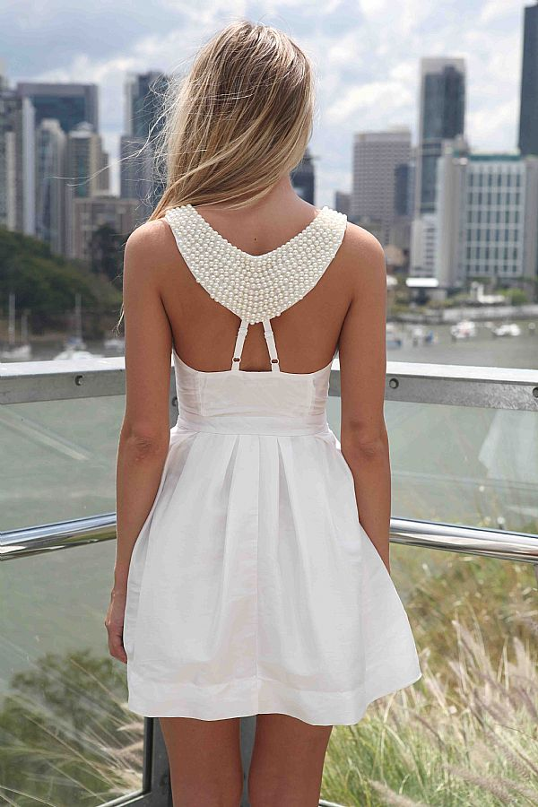 White Party Dress - White Dress with Beaded Back | UsTrendy