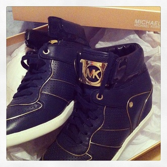 shoes micheal kors shoes logo brand black and gold box metal wedges mk sneakers leather shoes shiny style high top sneakers dots