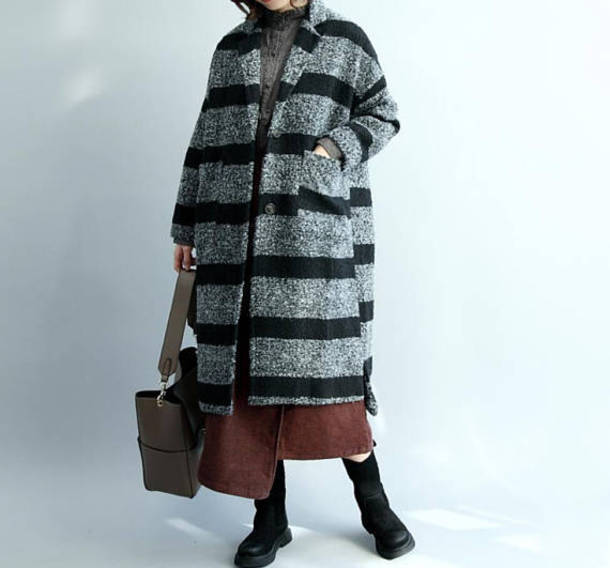 coat striped woolen coat winter coat