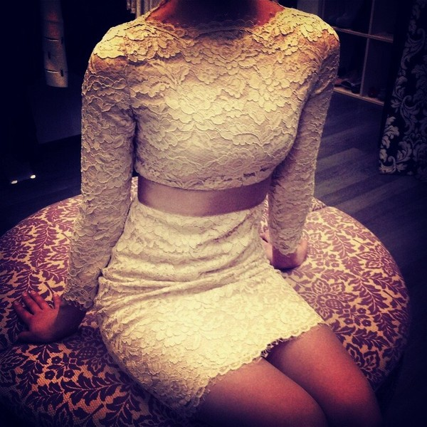 dress lace dress evening dress white lace dress white lace long sleeve dress off-white