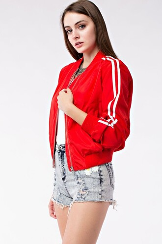 jacket sotrendyish 36683 bomber jacket summer spring instagram twitter tumblr fashion style celebrity girly black red pink olive green white navy