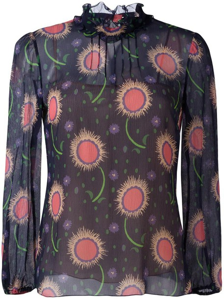RED VALENTINO blouse printed blouse women blue silk top